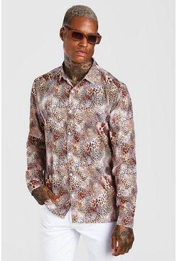Brown Long Sleeve Leopard Print Shirt