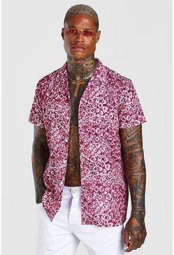 Pink Short Sleeve Revere Collar Leopard Print Shirt