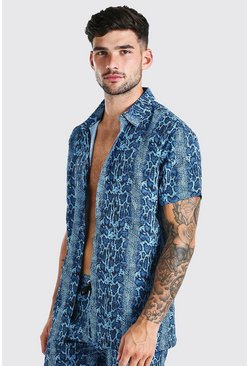 Blue Short Sleeve Snake Print Shirt
