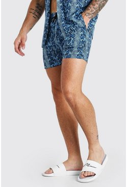 Blue Snake Print Shorts