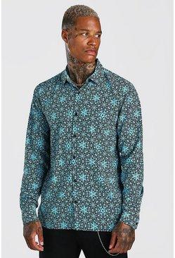 Aqua Long Sleeve Revere Collar Conversational Print Shirt