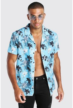 Blue Short Sleeve Revere Collar Floral Print Shirt