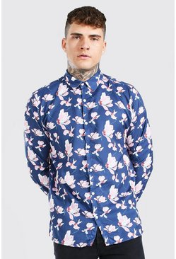 Black Long Sleeve Floral Print Shirt