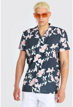 Black Short Sleeve Revere Collar Floral Print Shirt