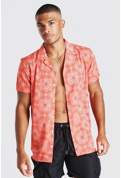 Orange Short Sleeve Revere Collar Bandana Print Shirt