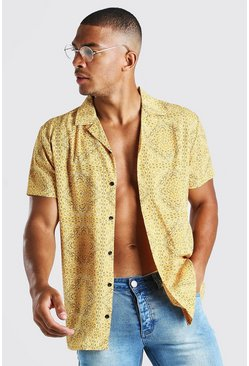 Yellow Short Sleeve Revere Collar Bandana Print Shirt