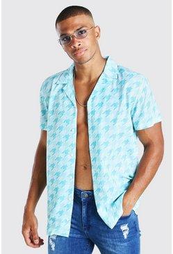 Blue Short Sleeve Revere Collar Dogtooth Print Shirt