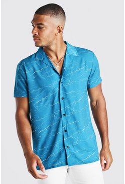 Blue Short Sleeve Revere Marble Print Shirt