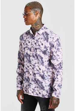 Taupe Long Sleeve Tie Dye Print Shirt