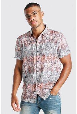 Taupe Short Sleeve Snake Print Shirt