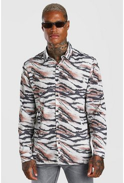 Tan Long Sleeve Zebra Print Shirt