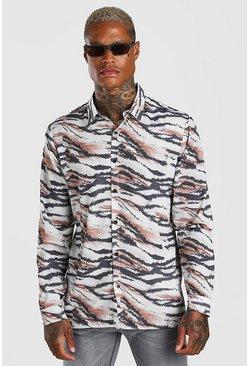 Tan Long Sleeve Zebra Print Shirt