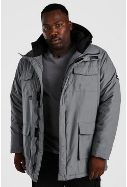 Charcoal Plus Size Contrast Hood 4 Pocket Parka