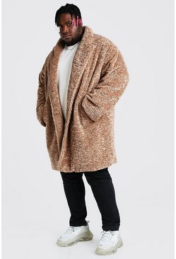 Tan Plus Size Faux Fur Teddy Coat