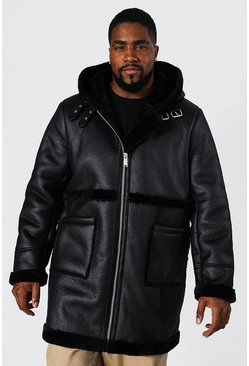 Black Plus Size Leather Look Longline Aviator