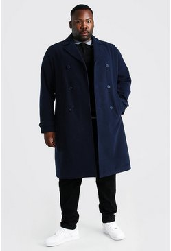 Navy Plus Size Double Breasted Wool Look Overcoat