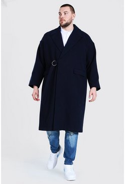 Navy Plus Size Tie Waist Duster Overcoat