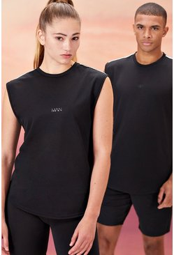 Black Hers Active Tank With Airtex Back