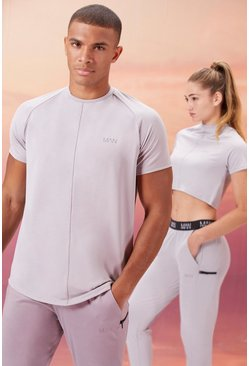 Grey His Active T-Shirt With Airtex Panel