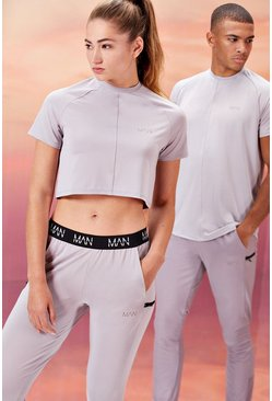 Grey Hers Active Crop Top With Airtex Panel