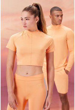 Peach Hers Active Crop Top With Airtex Panel