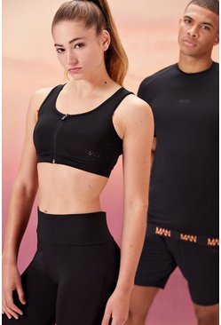 Black Hers Active Sports Bra With Zip Detail