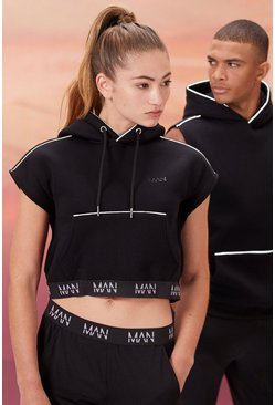 Black Hers Active Sleeveless Cropped Hoodie