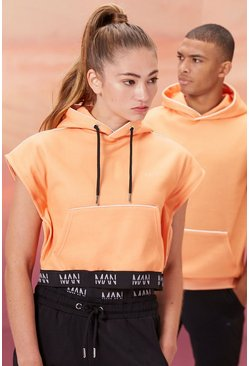 Peach Hers Active Sleeveless Cropped Hoodie