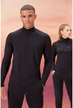 Black His Active 1/4 Zip Funnel Neck With Notch Neck