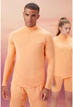 Peach His Active 1/4 Zip Funnel Neck With Notch Neck