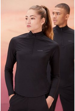 Black Hers Active 1/4 Zip Funnel Neck With Notch Neck