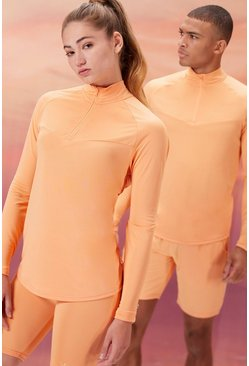 Peach Hers Active Zip Funnel Neck With Notch Neck