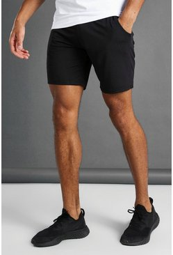 Black His Active Shorts With Woven Label