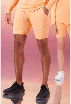 Peach His Active Shorts With Woven Label
