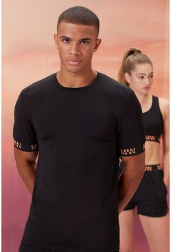 Black His Active Muscle Fit T Shirt With Cuff Detail