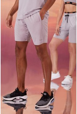 Grey His Active Mid Length Short With Man Waistband
