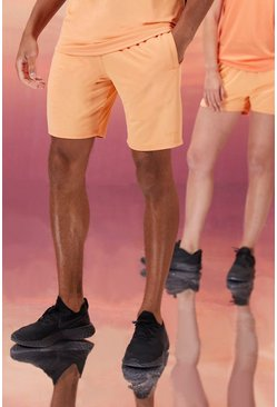 Peach His Active Mid Length Short With Man Waistband