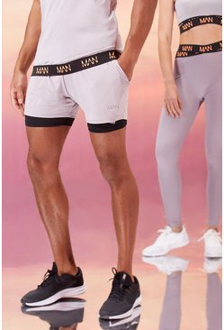 Grey His Active Mid Length 2-In-1 Short