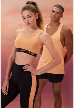 Peach Hers Active Sports Bra With Contrast Waist