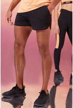 Black His Active Runner Short With Man Waistband
