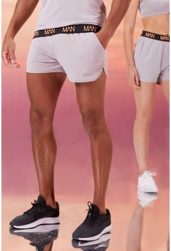 Grey His Active Runner Short With Man Waistband