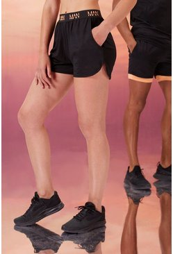 Black Hers Active Runner Short With Man Waistband