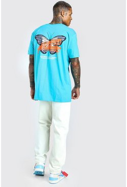 Blue Oversized MAN Official Butterfly Back Print T-Shirt