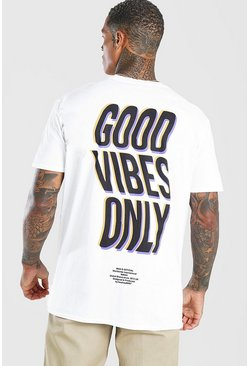 White Oversized Good Vibes Only Print T-Shirt