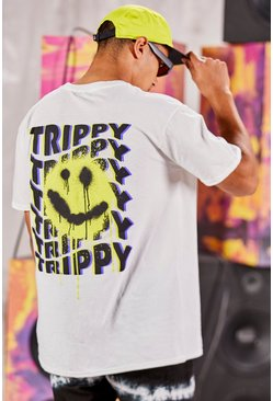 T-shirt coupe oversize imprimé Trippy Graffiti Smiley, Blanc