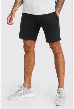 Black BASIC MID LENGTH JERSEY SHORT