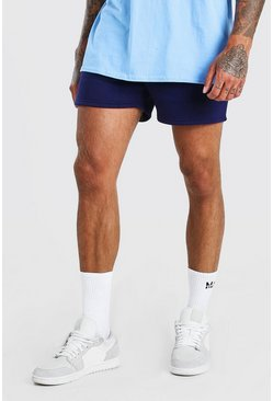 Navy BASIC SHORT LENGTH JERSEY SHORT