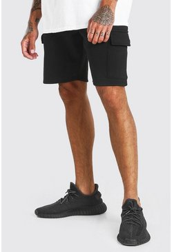 Black BASIC MID LENGTH CARGO JERSEY SHORT