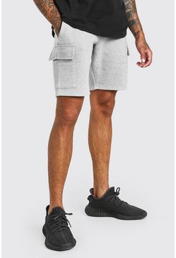 Grey marl Basic Mid Length Cargo Jersey Short
