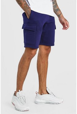 Navy Basic Mid Length Cargo Jersey Short